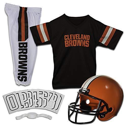 Franklin Sports Cleveland Browns Kids Football Uniform Set - NFL Youth Football Costume for Boys & Girls - Set Includes Helmet, Jersey & Pants - Medium