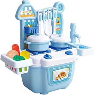 Kids Kitchen Pretend Play Toys, Play Kitchen Set Kids Pretend Toy Cooking Food Toys, Learning Gift for 3, 4, 5 Years Old Baby Girls Boys