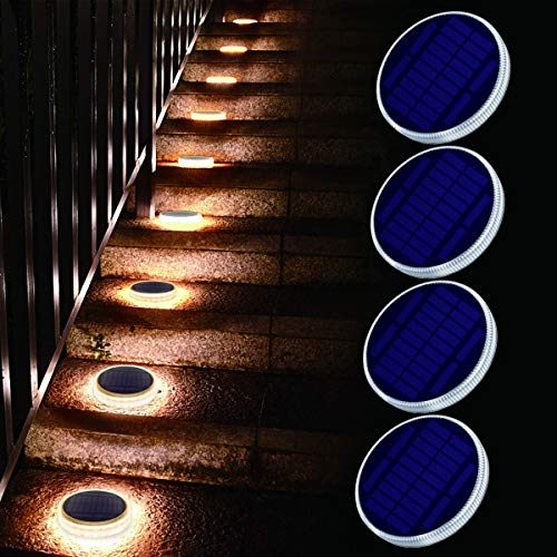 Solar Deck Light, Big Solar Charging Panel, 24 LEDs, Warm White Dock Light for Step, Pathway, Driveway, Garden(4 Pack)