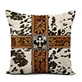Topyee Throw Pillow Cover 18x18 Inch Old Cowhide Silver Cross Straps West Southwest Western Designs Home Decor Pillowcases Square Pillow Cases Cushion Covers for Sofa Couch Bed
