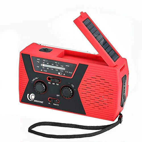 weather radio for kids GREATONE Weather Radio Emergency Solar Crank Radio with Flashlight and Reading Lamp, Portable Camping AM FM NOAA Weather Radio,2000mAh Power Bank and SOS Alarm018WB (red)
