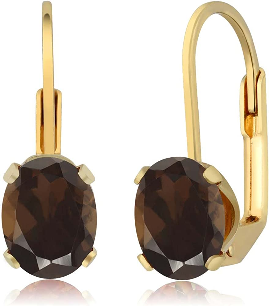 Gem Stone King 2.40 Ct store Oval Shape Large discharge sale Brown Quartz Yellow 18K Smoky