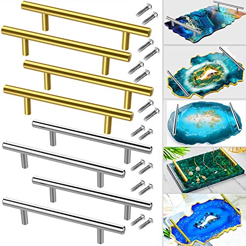 8 PCS Gold Silver Handles Hardware for Resin Tray Molds Handles Serving Tray Handles Bulk for Resin Casting, Epoxy Agate Geode Rolling Tray Handles Replacement, Drawer Pulls Cabinet Handles