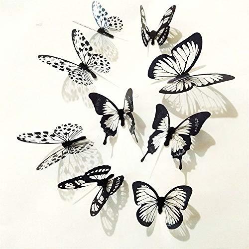 VIOYO 36Pcs Adesivi farfalla 3D Adesivo farfalla bianco nero 3D Adesivo murale Adesivo murale per tende per la casa
