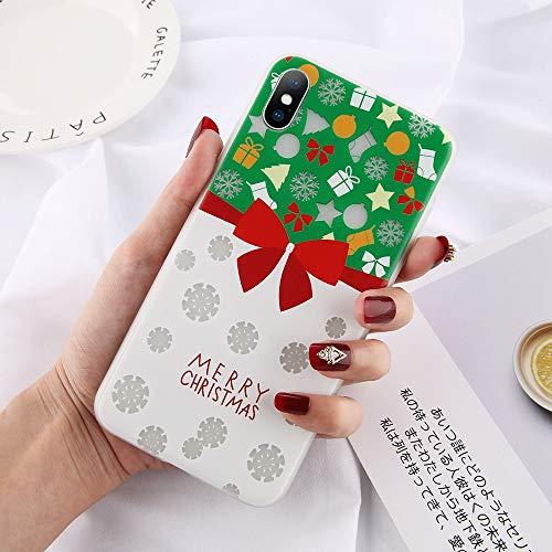 JJYUY telefoonhoes voor Kerstmis voor iPhone 6 6s 7 8 Plus X XR XS maximaal 10 sneeuwbloemen boom-letter-telefoon omkleedt zachte TPU afdekking aan de achterkant