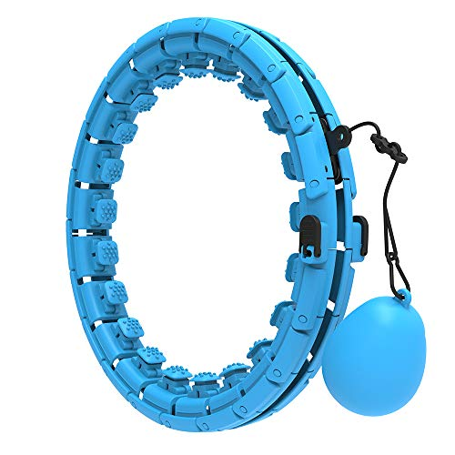 Weighted Hoola Hoops for Adults & Kids Beginners Exercising 2 in 1 Abdomen Fitness Weight Loss Massage 360° Auto-Spinning 24 Detachable Knots Adjustable Size Non-Fall Hula Fitness Hoop
