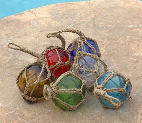 Mary B Decorative Art MB Japanese Glass Fishing Floats Assorted Colors Fishing Net Buoys Set of 6