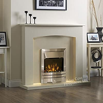 Electric Cream Ivory Silver Flame Fire Modern Wall Surround LED Fireplace Suite 48""