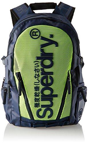 Superdry - Meshtarpbackpack, Mochilas Hombre, Multicolor (Dark Navy/Lime), 34x45x14 cm (W x H L)