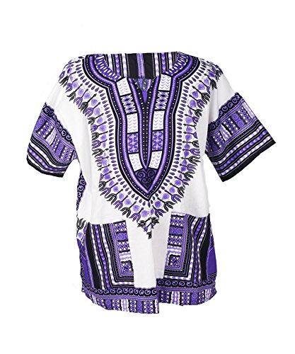Lofbaz - Unisex Dashiki - Traditionelles Oberteil mit afrikanischem Druck M Weiß and Violett
