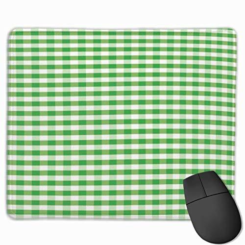 Nettes Gaming-Mauspad, Schreibtisch-Mauspad, kleine Mauspads für Laptop-Computer, Mausmatte Gingham Picknickdecke Inspiriert Grün und Weiß Plaid Retro Gingham Kariertes Muster Grün und Weiß