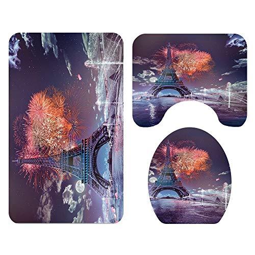 Tapis de salle de bains DAMAI MAGASIN Paris Tower Under The Fireworks, Tapis De Sol, Sièges De Toilette For La Salle De Bain, Tapis Trois Pièces, Absorbant L