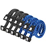 SATA III Cable,DanYee Nylon Braided SATA Cable III 6Gbps Straight HDD SDD Data Cable with Locking Latch 18 Inch Compatible for SATA HDD, SSD, CD Driver, CD Writer (3 Packs Black +3 Packs Blue)