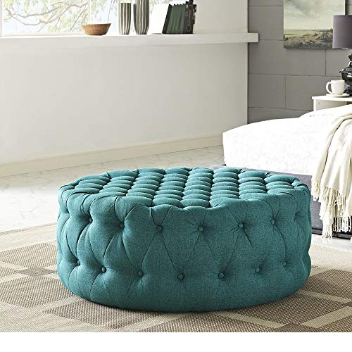 HNU Traditional Wood Frame Soft Fabric Large Round Tufted Ottoman, Modern & Contemporary Charm Furniture Stool Coffee Side Table for Living Room, Best Cocktail Ottoman - Teal