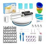 VLVEE Decoración De Pasteles Kit - 186 Piezas , Plato Giratorio Para Tartas y 48 Boquillas Manga Pastelera, Herramientas Para Pasteleria y Reposteria