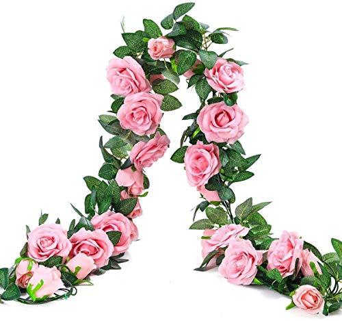 Ruiuzi - Ghirlanda di rose artificiali in seta, da appendere, per hotel, matrimoni, casa, feste, giardino, artigianato, Colore: rosa., 2 Stücke-9Flower