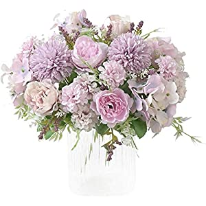 OHYGGE Artificial Flower Silk Peony Bouquets Hygrangea Carnations Flower Arrangement Centerpiece for Table Wedding Dining Room Home Decorations Set of 2, Purple