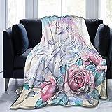 Terapia de insomnio del sueño, Mantas de Franela de Unicornio y Rosa, súper Suaves,...