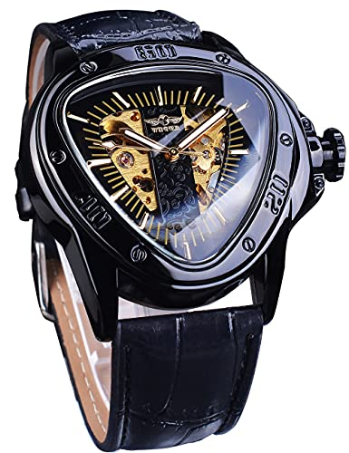Winner Reloj de pulsera automático de moda de oro negro triángulo deporte carreras Dial esqueleto de oro mecánico
