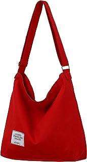 Umhängetasche Damen, ZhengYue Handtaschen Damen Hobo Bag Canvas Damentaschen Groß Kapazität Schultertasche Rot