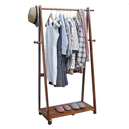 BLWX - Houten Coat Rack, Multifunctionele Opslagracks Coat Rack Vloerstaande Effen Hout Het Kan Verplaatsen Hangers Slaapkamer Kleding Rack Kinderkast Schoenenrek