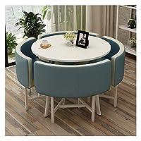 耐久性のあるテーブルと椅子のセット 表オフィス会議室ラウンジシンプルなテーブルと椅子セットモダンデザイン円卓バルコニーリビングルーム DYYD (Color : Blue)
