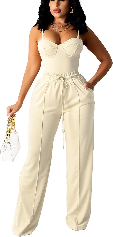 bluewolfsea Women Sexy 2 Piece Outfits Jumpsuit Summer Sleeveless Cami Crop Top Wide Leg Long Pants Set