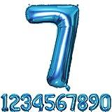 SMARCY Ballon Gonflable Chiffre 7 pour la Décoration d'anniversaire 7 Ans Bleu
