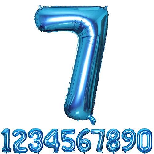 Smarcy Palloncino Gonfiabile Numero 7 Palloncini Compleanno 7 Anni Decorazioni Compleanno Bimbo Blu