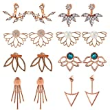 8 Pairs Multiple Dainty Lotus Flower Ear Jacket Earrings-Minimalism CZ Bar Turquoise Studs-White Rose Gold Plated Statement Chic Fashion Stud Earring Set New Year for Teens Girl Women