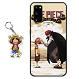 Compatible with Samsung Galaxy A51 4G Case One Piece Anime Design [with Shanks/Luffy Figure Keychain], Soft Silicone TPU Animation Cool Phone Case for Samsung Galaxy A51 4G