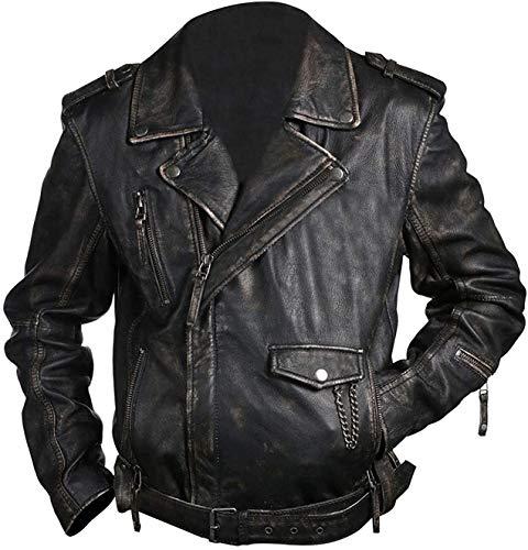 Chaqueta de cuero para moto icónica, chaqueta de cuero estilo Brando, chaqueta de cuero para motociclista, chaqueta clásica de cuero de jinete
