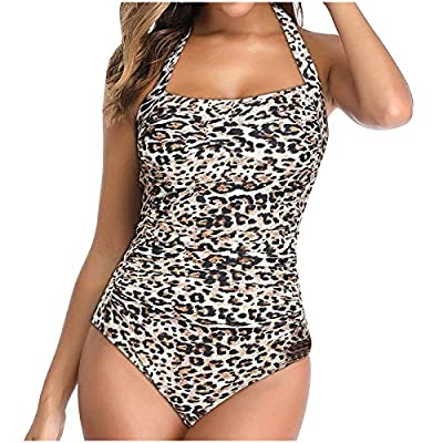 CapsA Tummy Control Swimwear Halter One Piece Swimsuit for Women Ruched Padded Bathing Suits Slimming Vintage Bikini