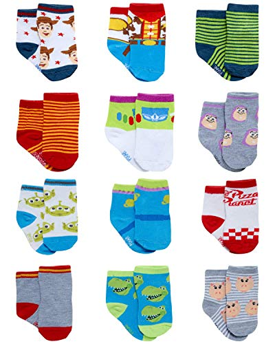 Disney Baby Boys' Socks - 12 Pack Mickey Mouse, Lion King, Toy Story (Newborn/Infant), Size 6-12 Months, Woody/Buzz Lightyear & Friends
