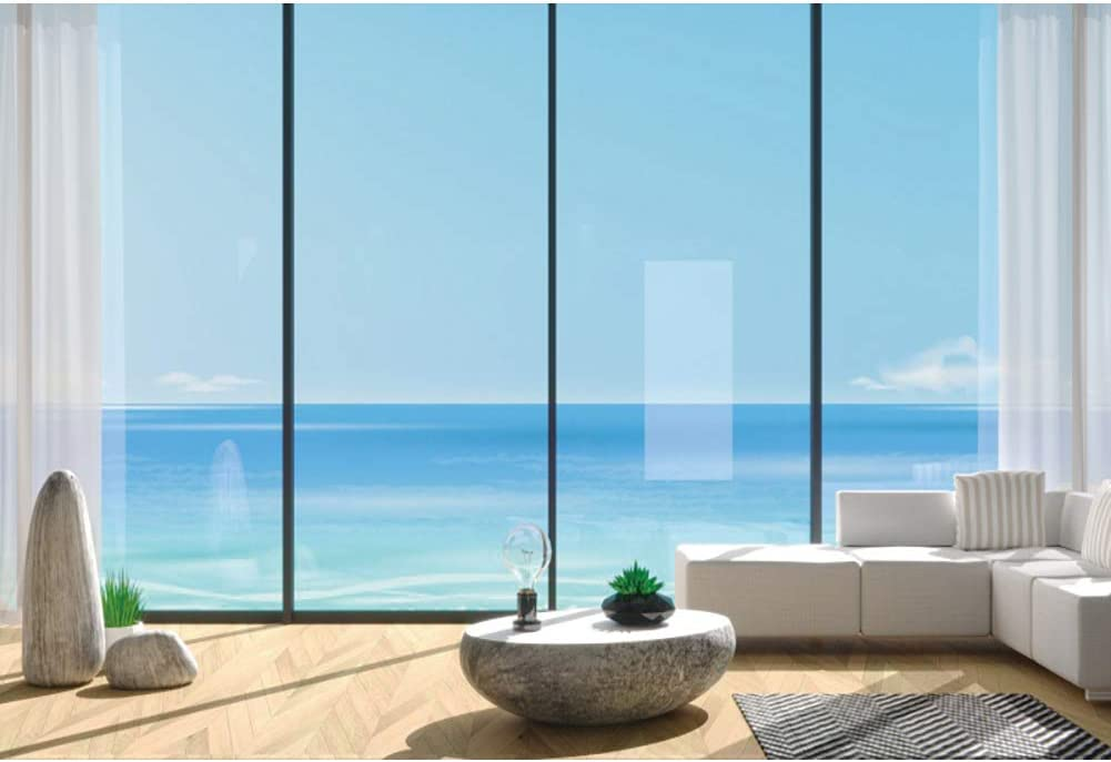 DORCEV 12x10ft Sea View House Photography Backdrop French Window White Curtain Sunshine Background Living Room Sofa Modern Flat Furniture Apartment Decoration Residence Villa Decor Props