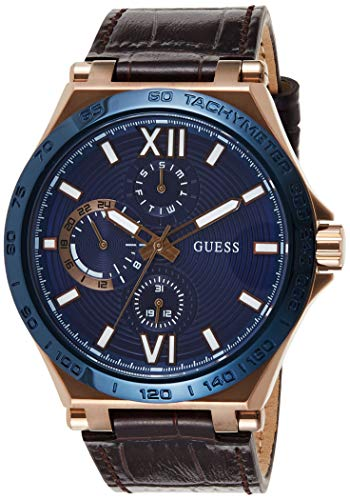 GUESS Men's Stainless Steel Quartz Watch with Leather Strap, Browns, 24 (Model: GW0204G2)