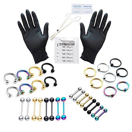 PiercingJ Profi Piercing-kit 1.2mm Piercingnadel Körperpiercing Werkzeug-Set mit 36x Edelstahl Piercing für Helix Tragus Augenbraue Nase Lippe Zunge Brustwarze Ohr Septum Piercing
