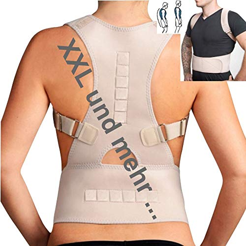 TOP & MARKE *Größe XXL bis 3XL* Rücken Rückenbandage Geradehalter zur Haltungskorrektur für Damen & Herren - orthopädisch mit 20% Baumwolle & 12 Magneten