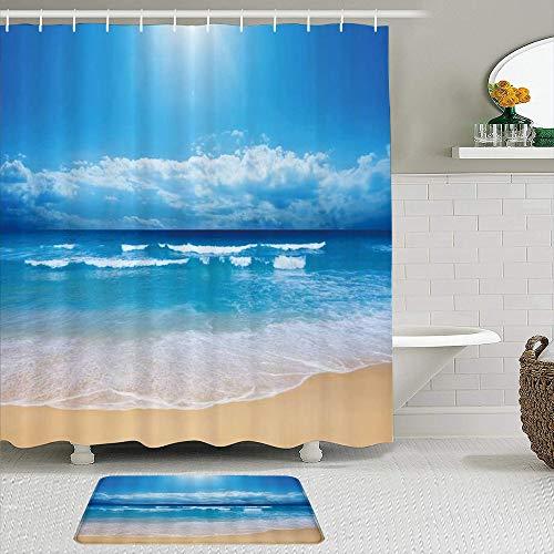 ZELXXXDA Juegos de Cortinas de Ducha con alfombras Antideslizantes,Ocean Beach Impresionista Océano Azul Paisaje, Alfombra de baño + Cortina de Ducha con 12 Ganchos