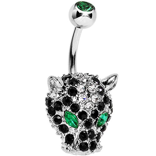 Body Candy Green Black Panther Head Belly Button Ring