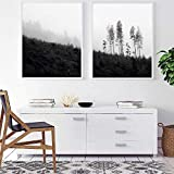ARTPRIME Lámina Decorativa para enmarcar de Paisaje. Set de Dos láminas para enmarcar en Blanco y Negro Paisaje Natural. Impresión de Calidad. Papel de 250Gr.(A3)