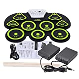 Andoer Tambor Electrónica de Silicona Entrollable Midi Digital USB Portable Plegable Kit de Cojín con Palillo y Pedal del Pie