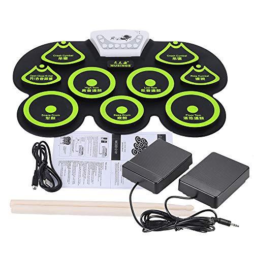Andoer® - Tamburo elettronico in Silicone ad Incastro, per Midi Digitale, USB, Portatile, Pieghevole, Kit di Cuscino con Bacchetta e Pedale del Piede Giallo