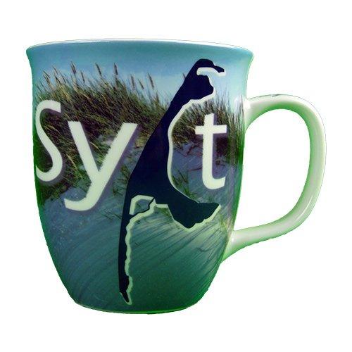 osters muschel-sammler-shop Kaffee-Becher- KRUG Sylt- Sylter Becher/blau-Weiss/Syltmotiv/Motiv Sylt/Sylter Becher/Strandtasse-Becher