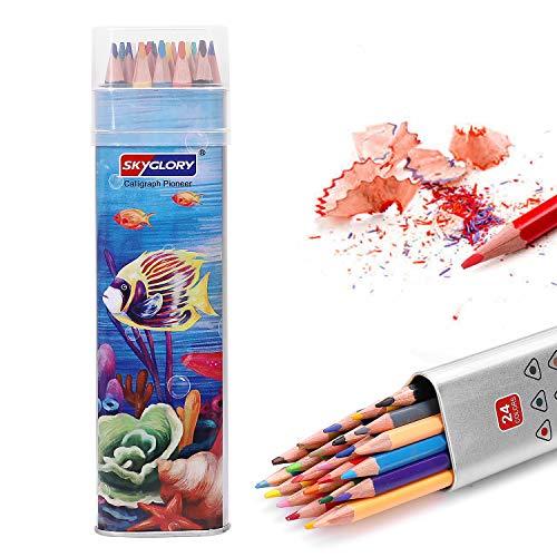 Buntstifte, SKYGLORY 24 Verschiedene Farbstifte, Buntstifte-Set, Verpackt in Exquisite Eisen-Box, Weiche Wachs-Kerne, Zum Malen Geeignet für Erwachsene, Künstler, Kinder und Studenten.