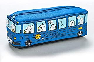Cute Animal School Bus Pencil Case Canvas Storage Pencil Bag Office School Stationery Supply (Blue)