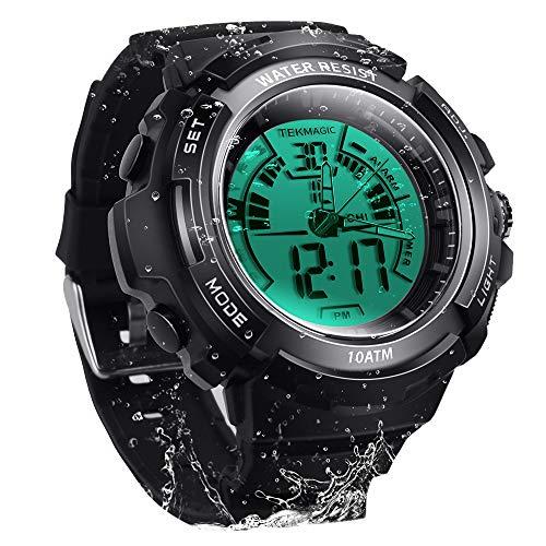 TEKMAGIC Digitaluhr 100m Unterwasser-Wasserdicht zum Schwimmen Tauchen mit Stoppuhr, 12/24 Stunden Format, Dual Zeitzone, Alarm Funktionen