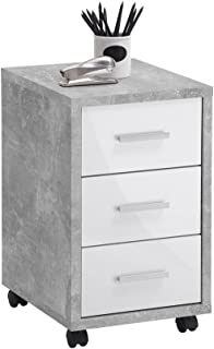 FMD furniture Caisson de Bureau, Bois d'ingénierie, Béton la/Blanc Brillant, ca. 35 x 53,6 x 42 cm