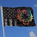 AOTADer Outdoor Flags Abgenutzte USA Flagge Tie Dye Tribal Tiger Flagge für Sportfan Fußball Basketball Baseball Hockey