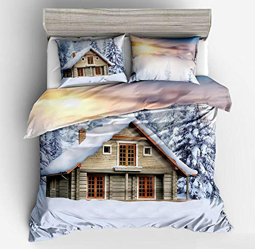Evvaceo Child Bedding Set 3 Pieces Duvet Cover Winter Forest Igloo 135 Cm X 200 Cm Teens Boy Girl Bedroom Kindergarten Bedding Superfine Fiber Mattress Cover(individual)